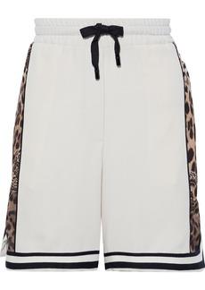 Dolce & Gabbana Woman Leopard-print Satin-paneled Crepe Shorts Ecru