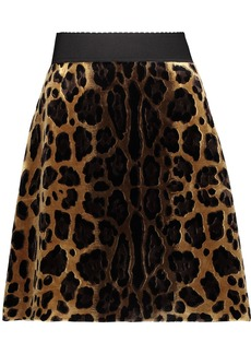 Dolce & Gabbana Woman Leopard-print Velvet Mini Skirt Animal Print