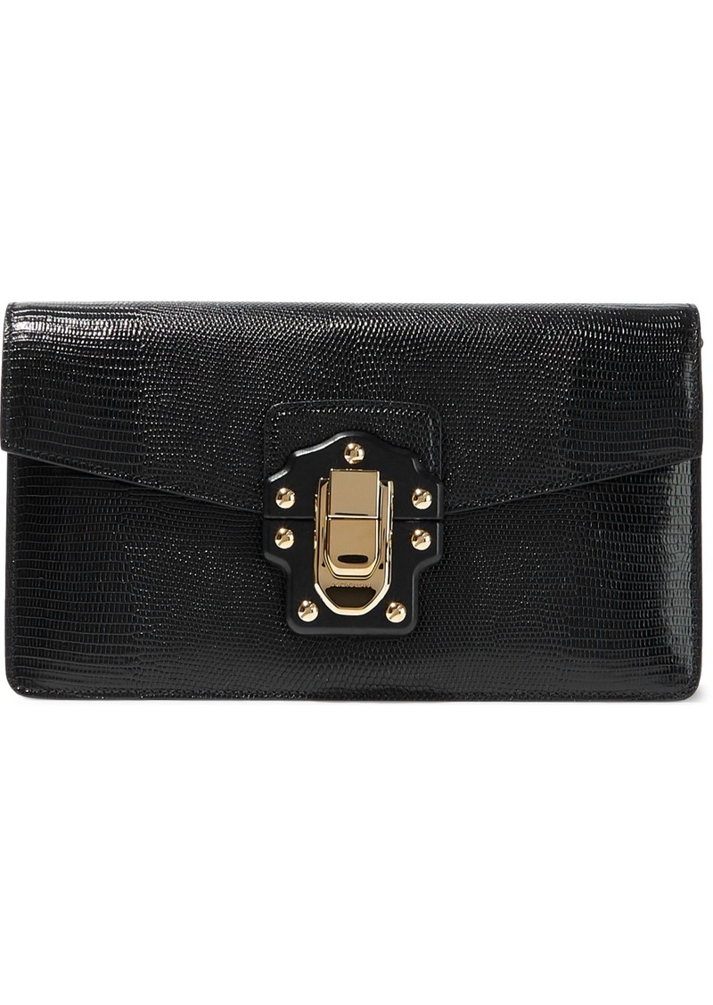 Dolce & Gabbana Woman Lizard-effect Leather Clutch Black