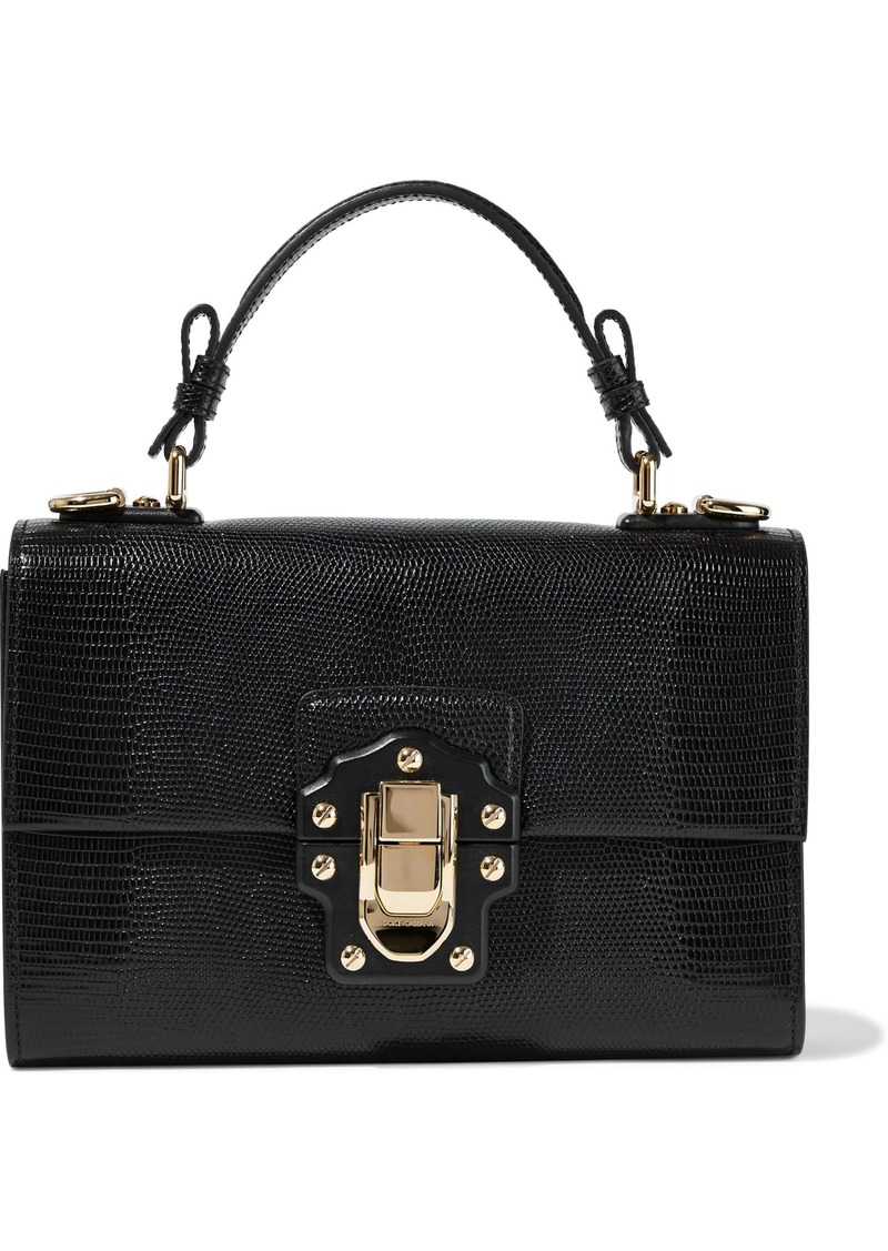 Dolce & Gabbana Woman Lizard-effect Leather Tote Black