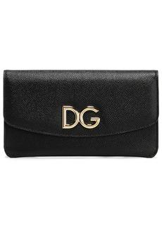 Dolce & Gabbana Woman Logo-embellished Pebbled-leather Continental Wallet Black