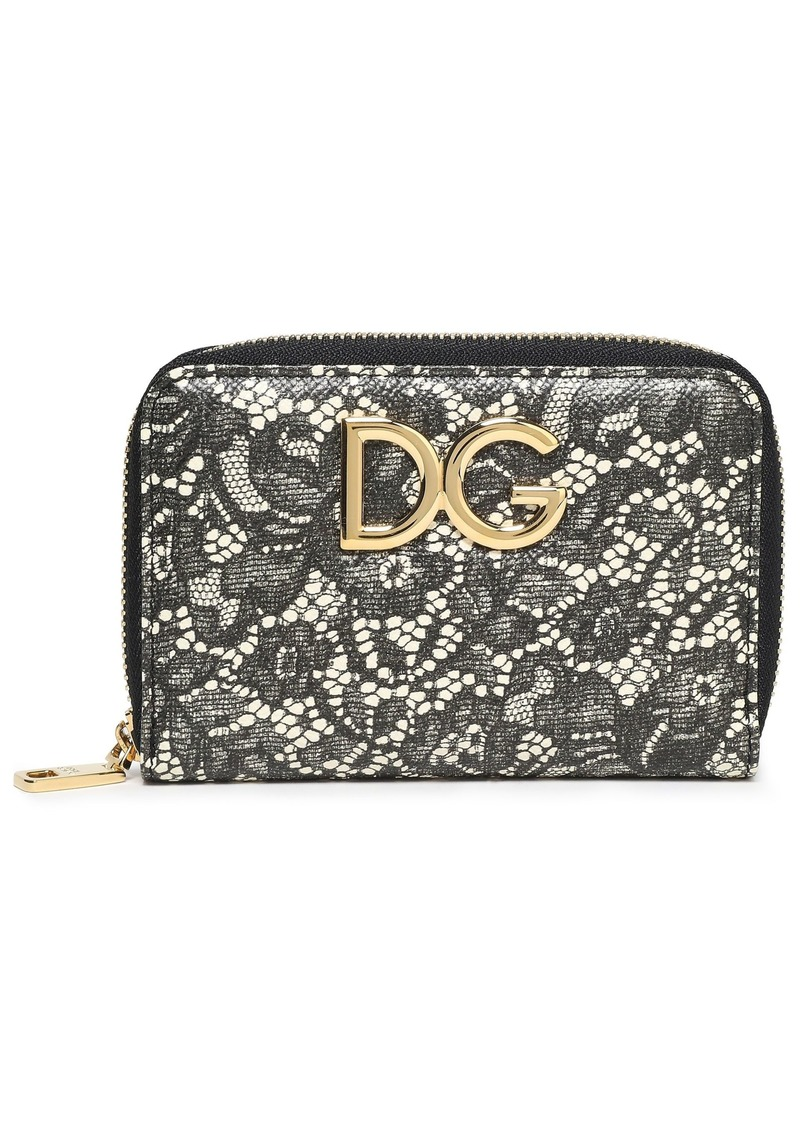 Dolce & Gabbana Woman Logo-embellished Printed Textured-leather Wallet Black