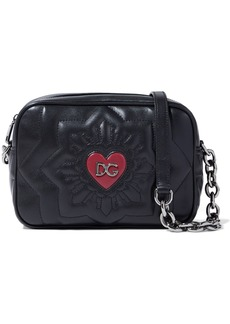 Dolce & Gabbana Woman Logo-embellished Quilted Leather Shoulder Bag Black