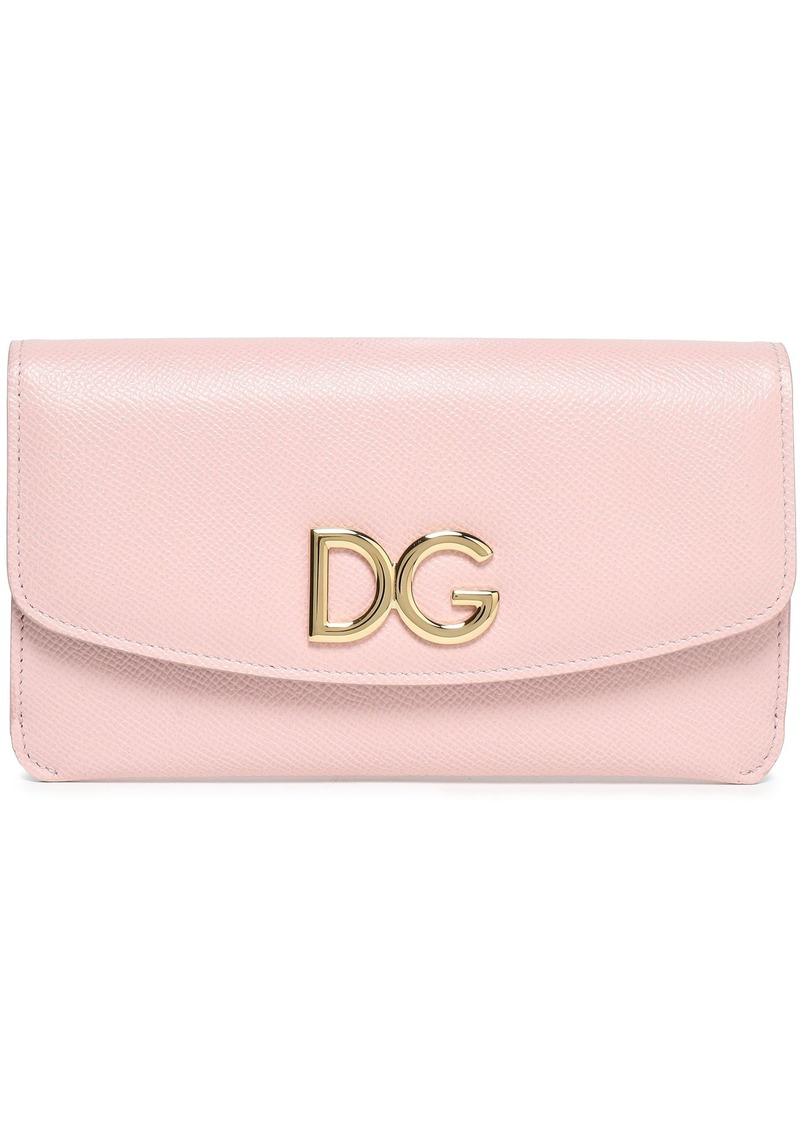 Dolce & Gabbana Woman Logo-embellished Textured-leather Continental Wallet Blush
