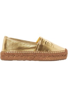 Dolce & Gabbana Woman Logo-embossed Metallic Leather Espadrilles Gold