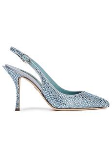 Dolce & Gabbana Woman Lori Crystal-embellished Satin Slingback Pumps Sky Blue