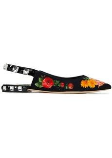 Dolce & Gabbana Woman Lori Embellished Floral-print Cady Slingback Point-toe Flats Black