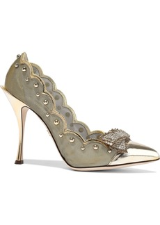 Dolce & Gabbana Woman Lori Embellished Mirrored-leather And Mesh Pumps Gold