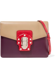 Dolce & Gabbana Woman Lucia Color-block Ayers And Leather Shoulder Bag Sand