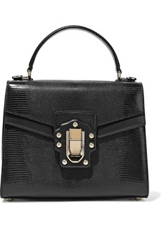 Dolce & Gabbana Woman Lucia Lizard-effect Leather Tote Black