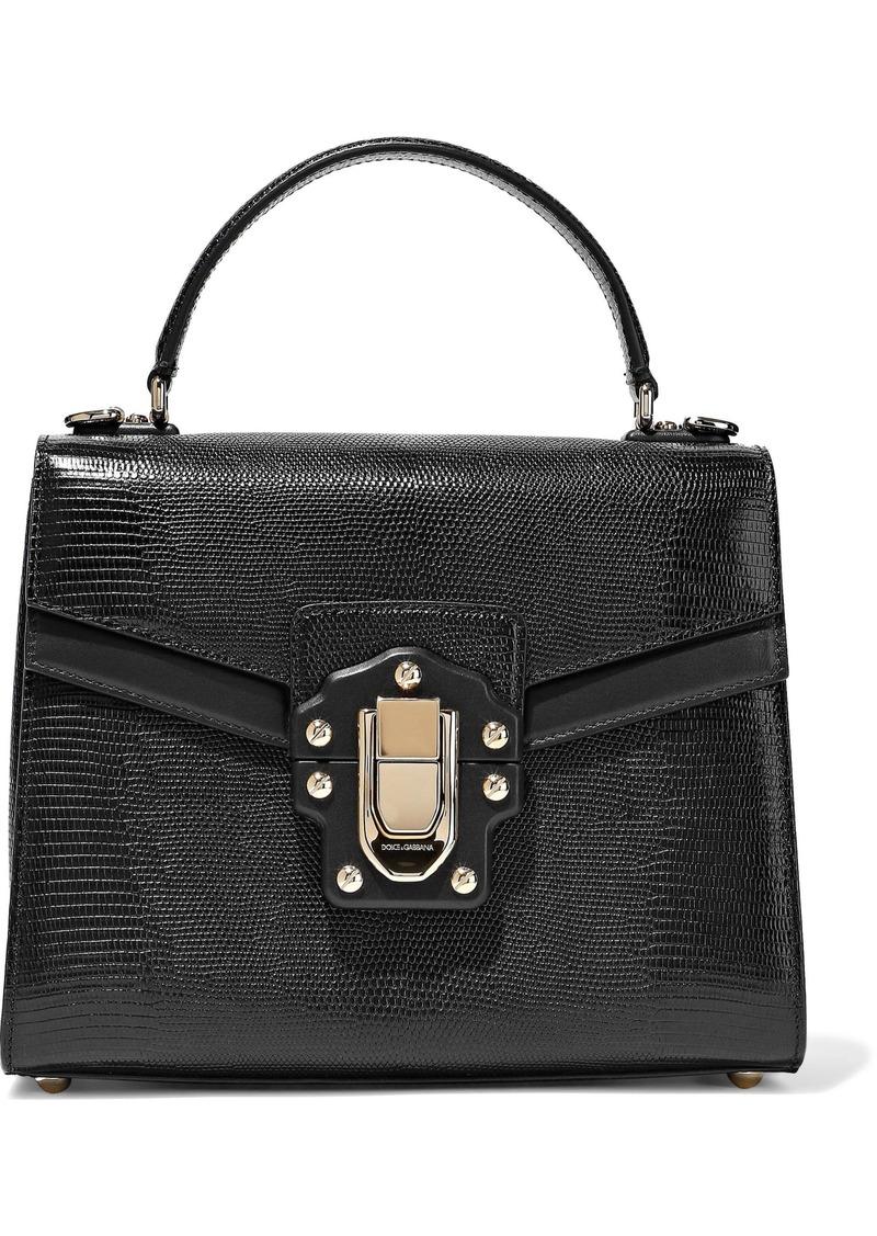 Dolce & Gabbana Woman Lucia Lizard-effect Leather Tote Black