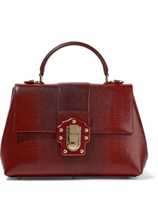 Dolce & Gabbana Woman Lucia Lizard-effect Leather Tote Claret