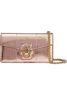 Dolce & Gabbana Woman Lucia Snake-effect Mirrored-leather Shoulder Bag Copper