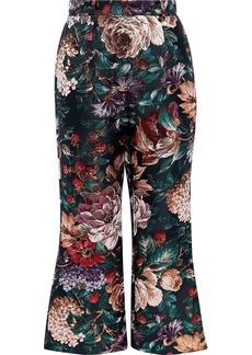 Dolce & Gabbana Woman Metallic Floral-jacquard Kick-flare Pants Black