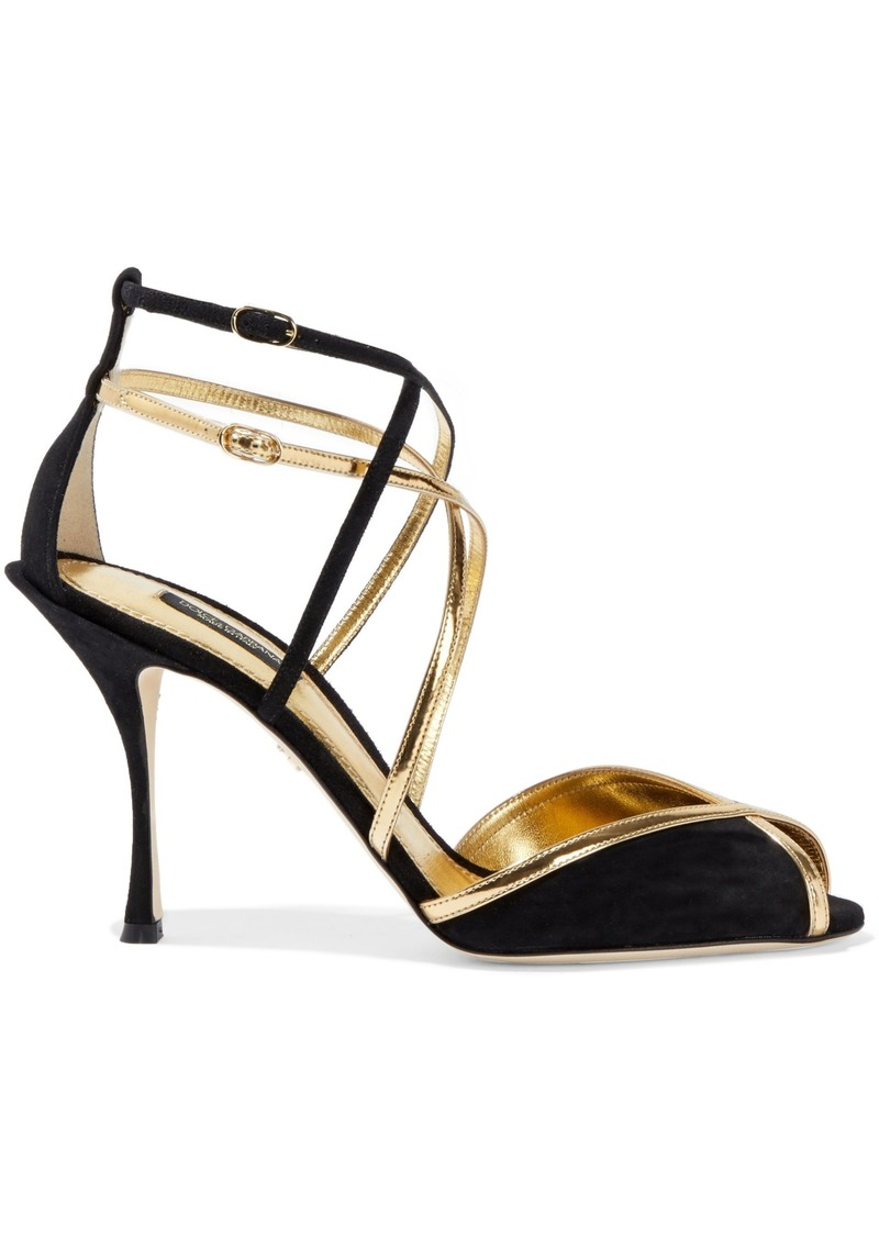Dolce & Gabbana Woman Metallic Leather-trimmed Suede Sandals Gold