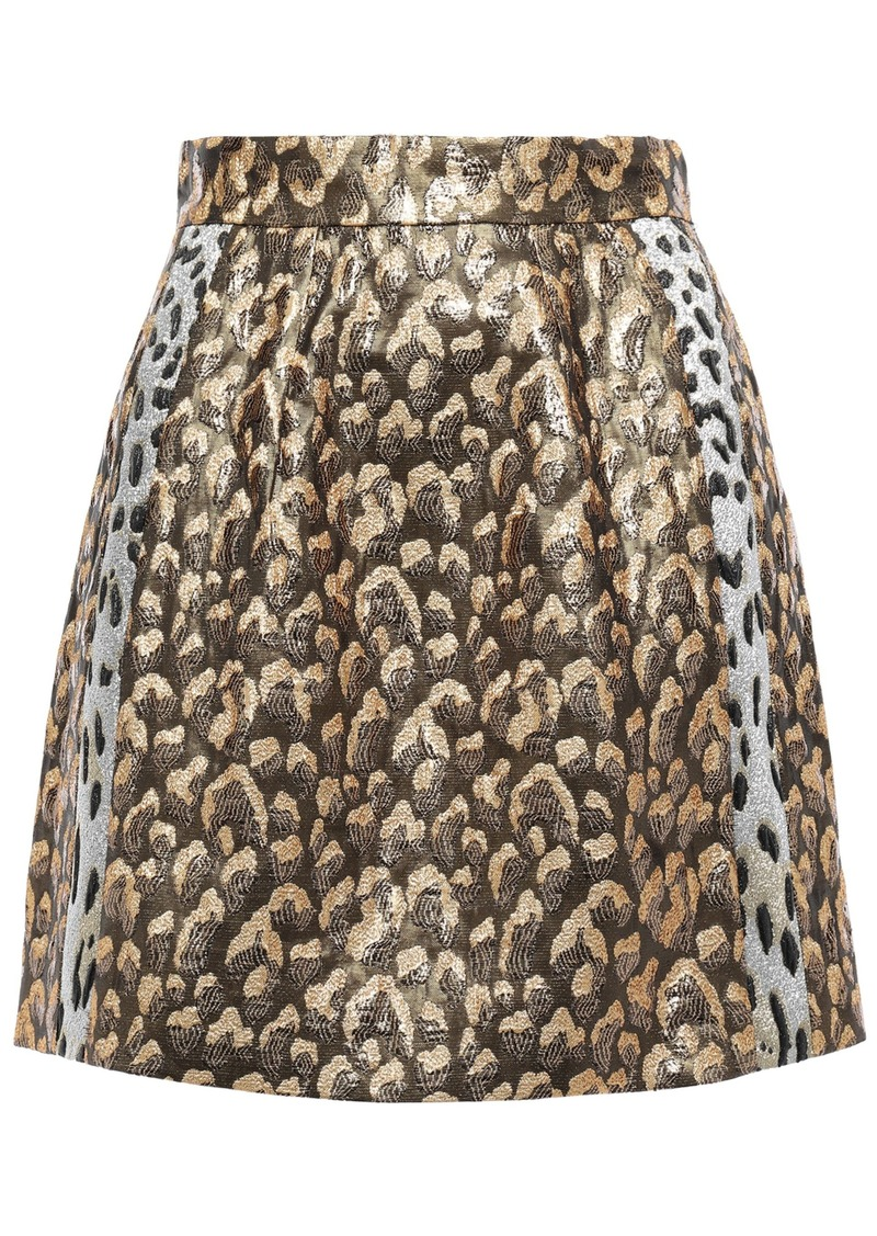 Dolce & Gabbana Woman Metallic Leopard-jacquard Mini Skirt Bronze