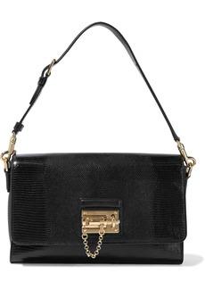 Dolce & Gabbana Woman Monica Lizard-effect Leather Shoulder Bag Black