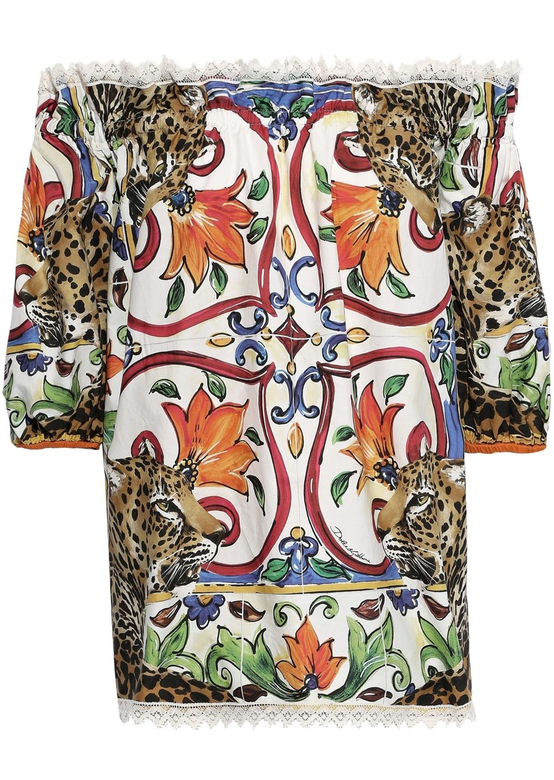 Dolce & Gabbana Woman Off-the-shoulder Gathered Cotton-blend Poplin Blouse Multicolor
