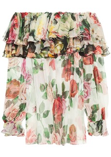 Dolce & Gabbana Woman Off-the-shoulder Ruffled Floral-print Silk-voile Blouse White