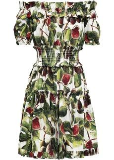 Dolce & Gabbana Woman Off-the-shoulder Shirred Printed Cotton-poplin Dress Leaf Green
