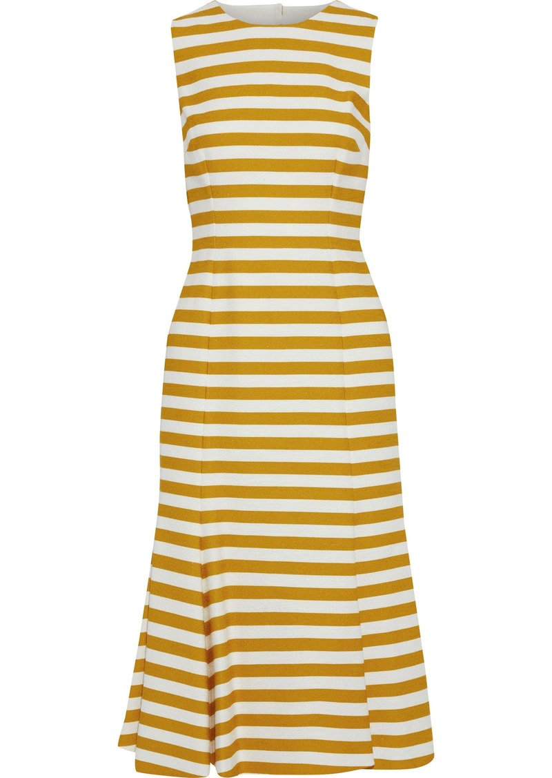 Dolce & Gabbana Woman Open-back Striped Cotton-blend Midi Dress Saffron