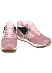 Dolce & Gabbana Woman Paneled Canvas Suede And Leather Sneakers Baby Pink