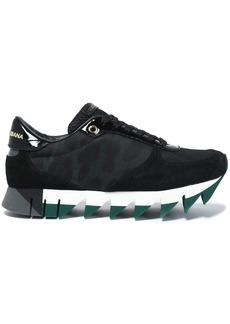 Dolce & Gabbana Woman Leopard Print-paneled Suede Sneakers Black