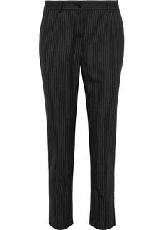 Dolce & Gabbana Woman Pinstriped Wool Slim-leg Pants Charcoal