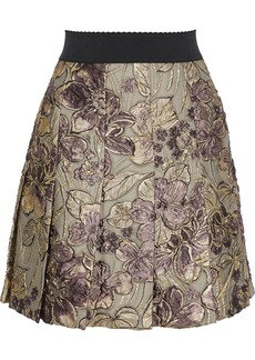 Dolce & Gabbana Woman Pleated Brocade Mini Skirt Gold