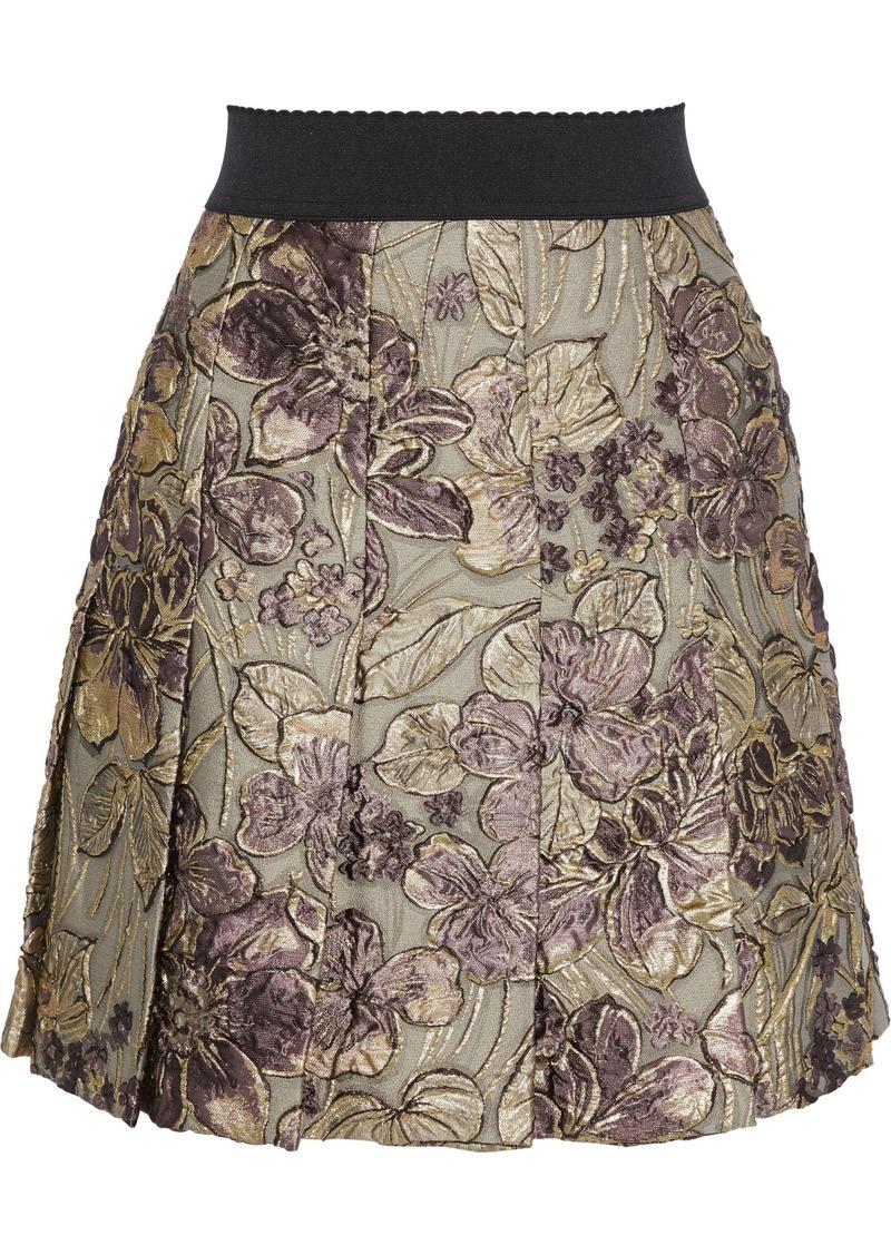 Dolce & Gabbana Woman Pleated Brocade Mini Skirt Gold