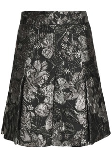 Dolce & Gabbana Woman Pleated Brocade Mini Skirt Gunmetal