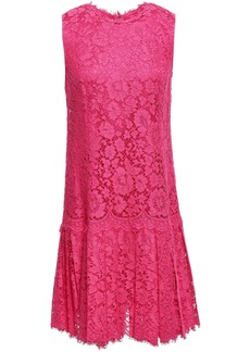 Dolce & Gabbana Woman Pleated Corded Lace Dress Bright Pink