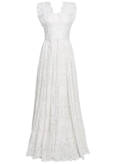 Dolce & Gabbana Woman Pleated Cotton-blend Corded Lace Gown Ivory