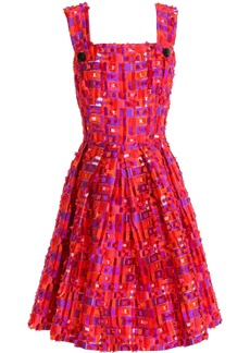 Dolce & Gabbana Woman Pleated Fil Coupé Jacquard Dress Red