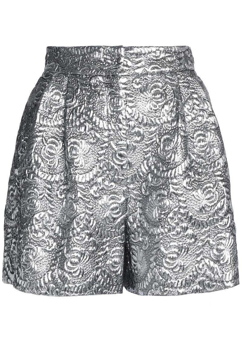 Dolce & Gabbana Woman Pleated Metallic Brocade Shorts Silver