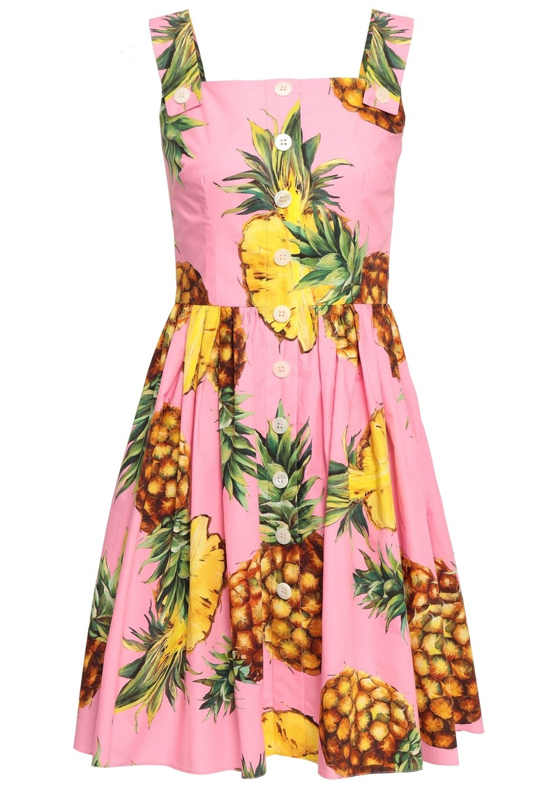 Dolce & Gabbana Woman Pleated Printed Cotton-poplin Dress Pink