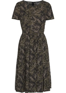 Dolce & Gabbana Woman Pleated Printed Cotton-poplin Dress Sage Green