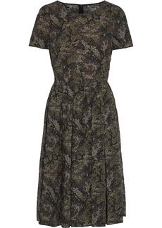 Dolce & Gabbana Woman Pleated Printed Cotton-poplin Dress Sage Green