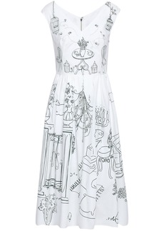 Dolce & Gabbana Woman Pleated Printed Cotton-poplin Midi Dress White
