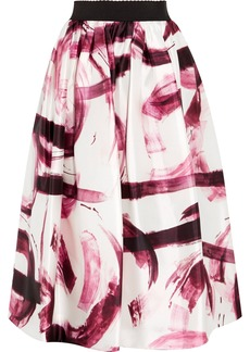 Dolce & Gabbana Woman Pleated Printed Satin-twill Midi Skirt White