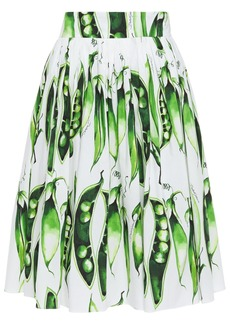 Dolce & Gabbana Woman Pleated Printed Stretch-cotton Poplin Skirt White