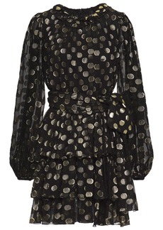 Dolce & Gabbana Woman Polka-dot Metallic Fil Coupé Silk-blend Mini Dress Black