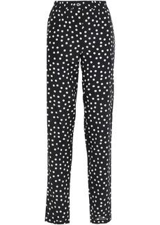 Dolce & Gabbana Woman Polka-dot Silk-crepe Slim-leg Pants Black