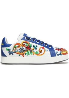 Dolce & Gabbana Woman Portofino Crystal-embellished Embroidered Leather Sneakers Blue