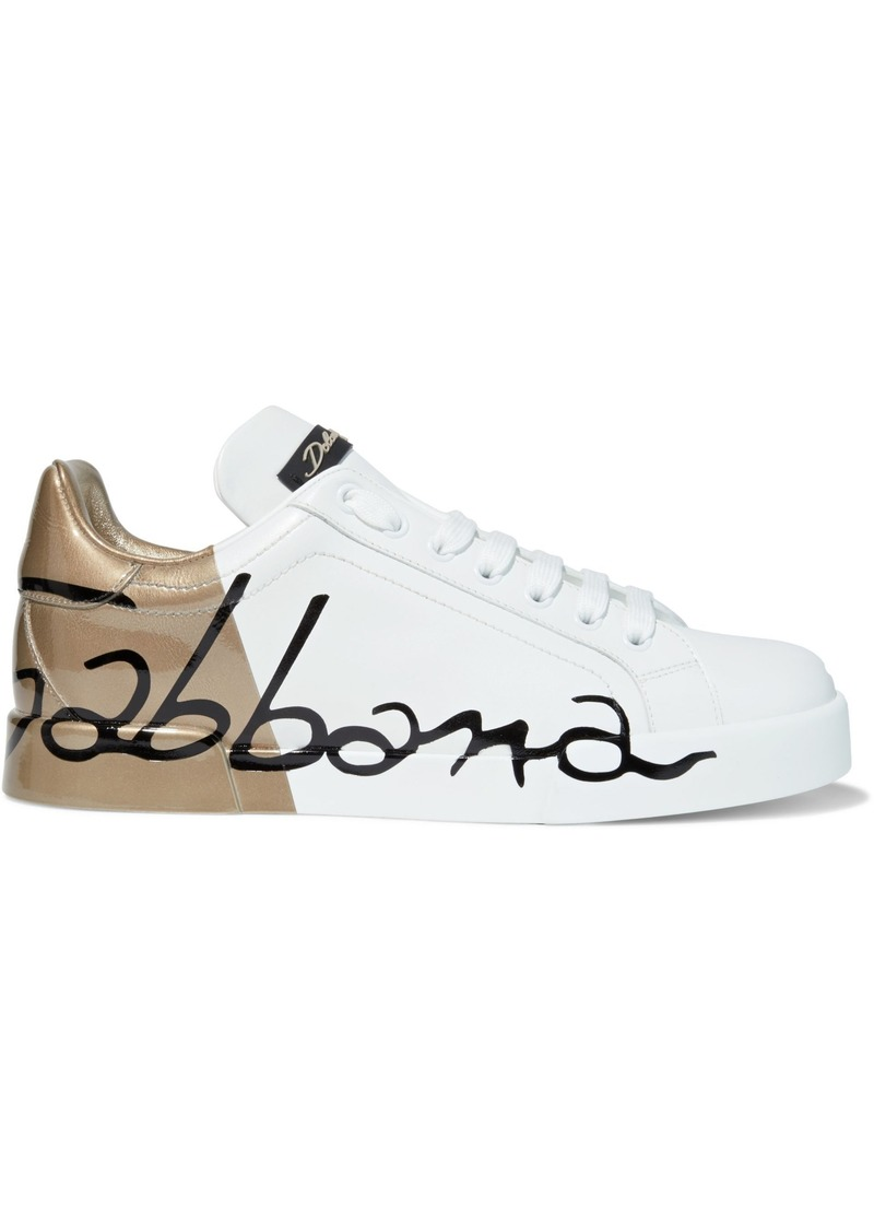 Dolce & Gabbana Woman Portofino Printed Smooth And Patent-leather Sneakers White