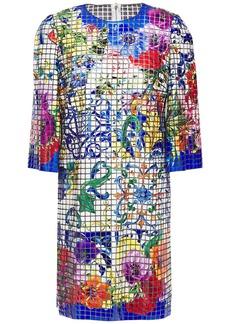 Dolce & Gabbana Woman Printed Appliquéd Tulle Mini Dress Blue