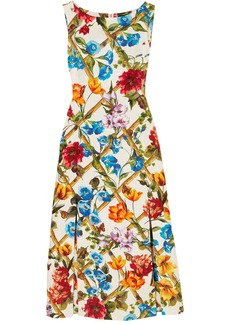 Dolce & Gabbana Woman Printed Cotton And Silk-blend Brocade Midi Dress White