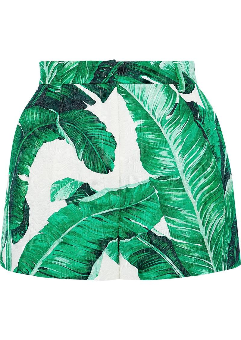 Dolce & Gabbana Woman Printed Cotton And Silk-blend Cloqué Shorts Green