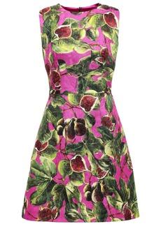 Dolce & Gabbana Woman Printed Cotton And Silk-blend Jacquard Mini Dress Bright Pink