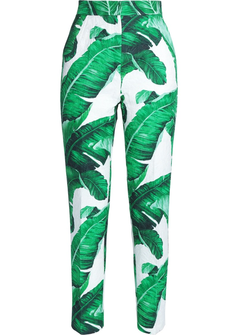 Dolce & Gabbana Woman Printed Cotton And Silk-blend Jacquard Tapered Pants Green